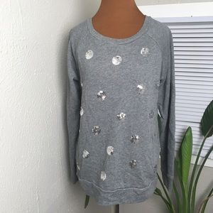 LOFT gray sweater with sequin polka dots